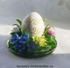 Пасхальный сувенир. Цветочная подставка с яйцом+ подсвечник. - полимерная глина