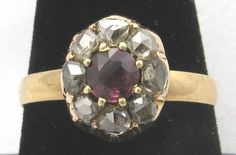 Early Victorian Rose Cut Diamond & Ruby Ring