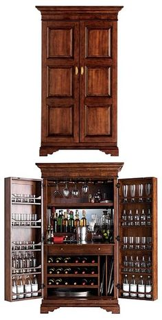 cabinet hidden bar... Closest thing so far to one I saw years ago.. Hinges at the side and not the corner giving depth to the door: