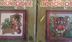 Vintage Jiffy Needlepoint Embroidery Kits Lot Of 2 Tiger Cub Glass Atrium New