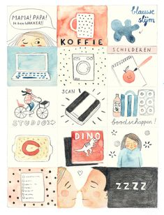 Valesca's day What does Valesca van Waveren's day look like? The illustrator takes time out of one to describe and draw it for us. What's more, you'll find a lovely mini-poster from Valesca in Flow Weekly 11 (Dutch only), which is available as of this week.