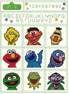 This is a COMPUTER-GENERATED cross stitch PATTERN ONLY. It is NOT a kit. You supply your own fabric and floss. For beginners to intermediate! You get Both Patterns for 1 LOW price!! The patterns are: Sesame Street Sampler and Sesame Street Sampler 2 Cross Stitch Patterns