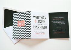 black and coral folding wedding invite