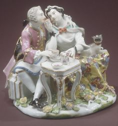 Couple Drinking Chocolate by Johann Joachim Kändler  (German, Fischbach 1706–1775 Meissen). factory: Meissen Manufactory. date: ca. 1744. culture: German (Meissen). medium: hard-paste porcelain.