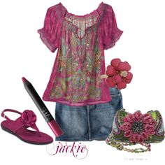 Denim Plums and flowers, created by jackijons on Polyvore