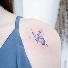 Incredibly Beautiful Collection Of 100 Butterfly Tattoos That You'd Want To Get Right Now - Millions Grace Realistic Butterfly Tattoo, Purple Butterfly Tattoo, Watercolor Butterfly Tattoo, Butterfly Tattoo Meaning, Butterfly Tattoo Designs, Mini Tattoos, Body Tattoos, New Tattoos, Small Tattoos