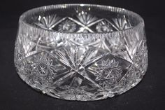 "American Brilliant Antique Hand Cut Lead Crystal Glass Bowl  HobStar 9""x4.5""…"