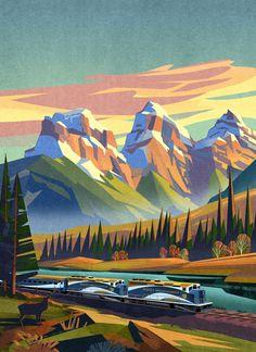 The Three Sisters on Behance Fantasy Landscape, Landscape Art, Landscape Paintings, Fantasy Art, Landscape Posters, Landscapes, Landscape Illustration, Digital Illustration, Animation Background