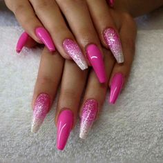 44 simple polished gel nail designs for summer page number 1 Hot Pink Nails, Pink Acrylic Nails, Sexy Nails, Glam Nails, Fancy Nails, Bling Nails, Glitter Nails, Beauty Nails, Pretty Nails
