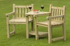 Interesting Wooden Patio Furniture Plans from Knotty Pine Wood Boards and Built In Tabletop with Jamie Oliver Wine Glasses Above Garden Lawn Grass from Backyard Patio Ideas Wooden Garden Chairs, Wooden Garden Furniture, Outdoor Furniture Plans, Recycled Furniture, Wooden Benches, Wood Chairs, Furniture Chairs, Best Wood For Furniture, Furniture Making