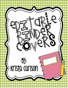 Free Editable Binder Covers for Teachers!