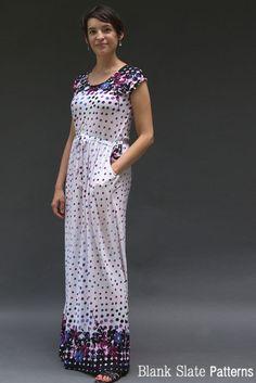 Cap Sleeve version of Catalina Dress Pattern by Blank Slate Patterns