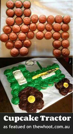 Tractor cupcakes cake...Sean's birthday? Pat's birthday?