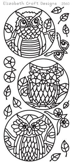 Elizabeth Craft Designs Peel-Off Sticker -2560B Owl Circles Black