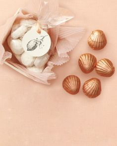 Shell-shaped chocolates make an irresistible seaside favor