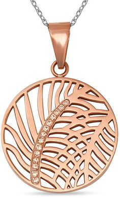 Zales 1/10 CT. T.W. Diamond Leaf Cutout Medallion Pendant in Rose IP Stainless Steel