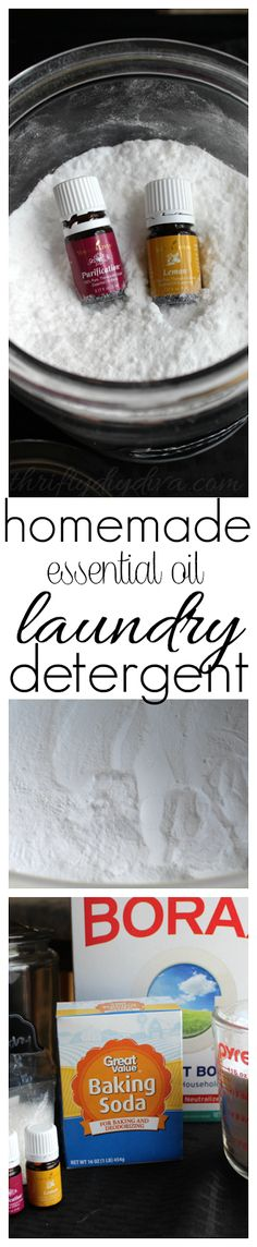 Homemade Essential Oils Laundry Detergent recipe. NON-toxic, no harmful chemicals and gets clothes CLEAN! Add this to your essential oil recipes collection!