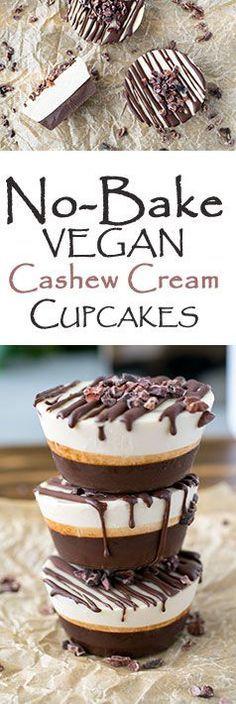 No-Bake Vegan Chocolate Cashew Cream Cupcakes! Super easy to make and healthy!