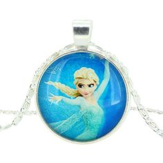 Girls Disney Frozen Characters Elsa Glass Dome Pendant Necklace ON SALE