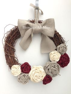 18 inch Grapevine Wreath, White, Gray, Deep Red, Burgundy Wine, Maroon Burlap Flowers, Gray Bow/Hanger, Spring Summer Fall Autumn Wedding Bridal Shower Wreath, Customized Bridesmaids Gifts, Primitive Rustic, Shabby Chic Decor, Front Door Decor, Housewarming, Birthday, Mother's Day Gift by BlessingsAllMine on Etsy.