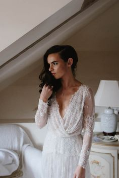 Romantic long sleeved lace wedding dress | Image by Jimmy Raper Photography