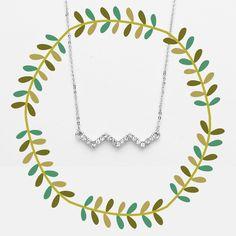 Festival Chevron Silver & Rhinestone Pendant Necklace