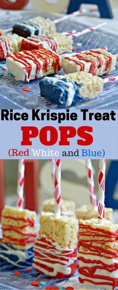 These rice krispie treat pops are perfect for Memorial Day or Independence Day! You can really decorate them however you want depending on what time of year it is, or leave them un-decorated! Either way, they are delicious! 4th Of July Desserts, Fourth Of July Food, Holiday Desserts, Holiday Treats, Holiday Recipes, July 4th, Patriotic Desserts, Easter Desserts, Holiday Parties