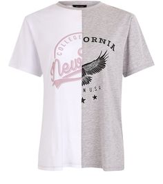 Grey New York California Spliced T-shirt | New Look
