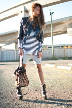 Heather-gray-tna-shorts-white-h-m-shirt-black-vintage-jacket-tan-alexander