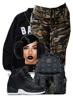 """Bad B**ch"" by chiamaka-ikaraoha ❤ liked on Polyvore featuring A BATHING APE, Ted Baker, NIKE, MCM, Lime Crime and adidas"