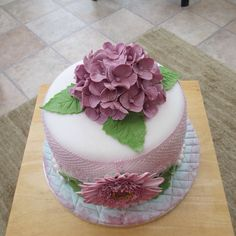 Lilac Hydrangea Birthday cake with edible lace