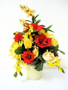Yellow and Red Spring Silk Floral by SandyNewhartDesigns on Etsy