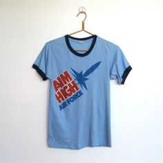 SOLD / #Vintage 1980s Aim High Air Force / Ringer T-shirt / Unisex Tee by VelouriaVintage, $20.00
