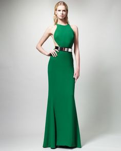 Stella Mccartney Green Belted Contour Gown