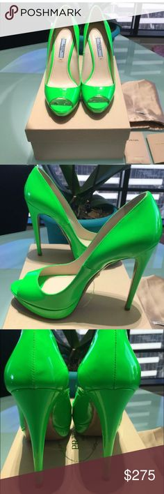 Prada neon green heels LNIB Stunning shoes look brand new bought and are too small. Size 37.5 Prada Shoes Heels