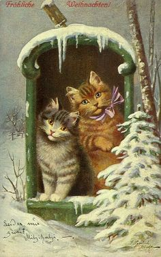 Vintage German Christmas Card with Cats in Mailbox Vintage Christmas Images, Old Christmas, Victorian Christmas, Retro Christmas, Christmas Pictures, German Christmas, Christmas Postcards, Christmas Holidays, Christmas Decor
