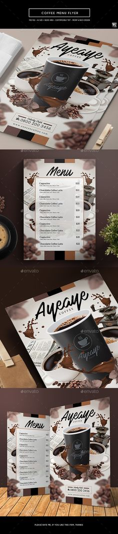 Coffee Menu Flyer — PSD Template #french coffee #business card • Download ➝…
