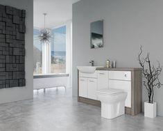Bathroom Fitted Furniture 1500mm White Gloss / Driftwood D2 - Bathcabz · $695.00 Fitted Bathroom Furniture, Oak Bathroom, Dream Bathrooms, Bathroom Renovations, Furniture Deals, Bathroom Lighting, Gladstone, Modern, Base