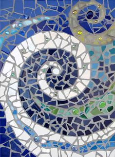 waves Mosaic Artwork, Mosaic Wall, Mosaic Glass, Mosaic Tiles, Stained Glass, Mosaic Mirrors, Gaudi Mosaic, Mosaic Crafts, Mosaic Projects
