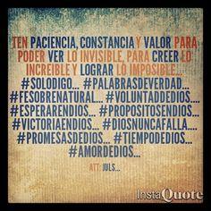 Con Dios nada es imposible... #Solodigo... #palabrasdeverdad... #Fesobrenatural... #VoluntaddeDios.... #EsperarenDios... #PropositosenDios... #VictoriaenDios... #Diosnuncafalla.... #PromesasdeDios... #TiempodeDios... #amordeDios...