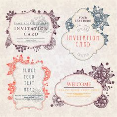 vintage invitation card templates and decorative frames イラスト素材