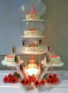 #nanisetc hot pink and baby blue quince cake | Quinceanera ...
