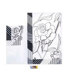 """Carte postale d'Art à colorier """" Fleurs stylisées"""". Création carterie artisanale. Modèle unique fait main par Cath Art"""