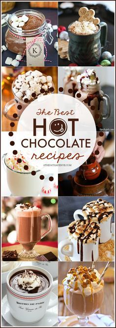 THE BEST HOT CHOCOLATE RECIPES- It's the season for Hot Chocolate and here you'll find the best Hot Chocolate Recipes. We have everything in this delicious menu: White Hot Chocolate, Frozen Hot Chocolate, Mexican Hot Chocolate, Slow Cooker Hot Chocolate, we even have Eggnog Hot Chocolate! These 20 Homemade Hot Chocolate Recipes for sure will bring warmth into your home in those chilly cold days! Ready to see them all? PIN IT NOW and make them later!