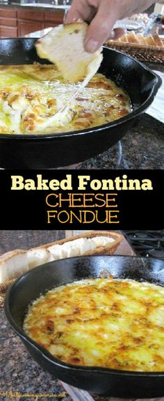 Baked Fontina Cheese Fondue Recipe | whatscookingamerica.net | #fontina #cheese…