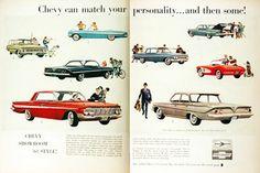 1961 Chevrolet Model Line original vintage advertisement. Features the Impala Convertible, Nomad Wagon, Bel Air Sport Coupe, Impala Sedan, Bel Air Sedan, Corvette, and the Biscayne Sedan.