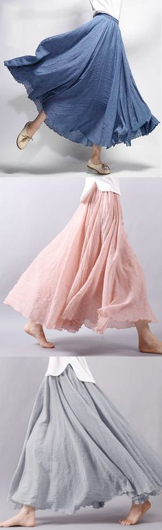 Gracila Women Casual Loose Cotton Pure Color Skirts. #women #skirts #dresses