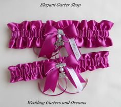 Firefighter Wedding Garters I Love My Fireman Charm Light Fuchsia Garter Set. $45.00, via Etsy.