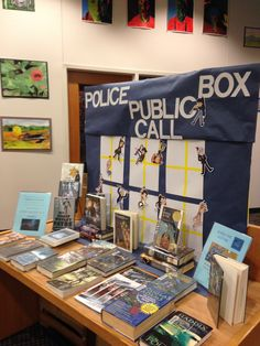 """""""Doctor Who"""" book display, features time travel books and Guess the Doctor activity, displayed to celebrate the new season of Doctor Who"""