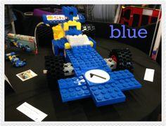 Blue lego racing car